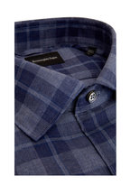 Ermenegildo Zegna - Blue Plaid Brushed Cotton Sport Shirt