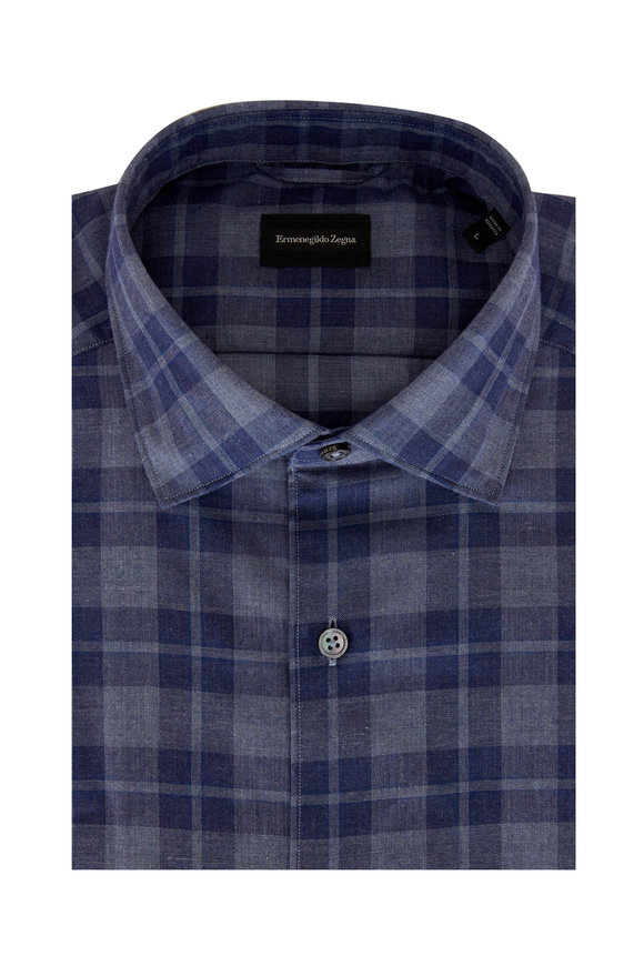 Ermenegildo Zegna Blue Plaid Brushed Cotton Sport Shirt