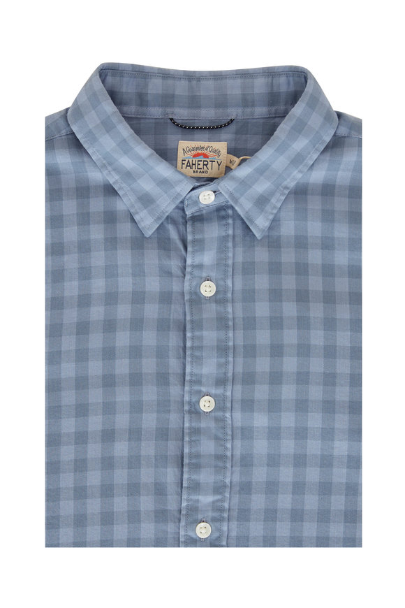 Faherty Brand Flint Blue Gingham Long Sleeve Button Down