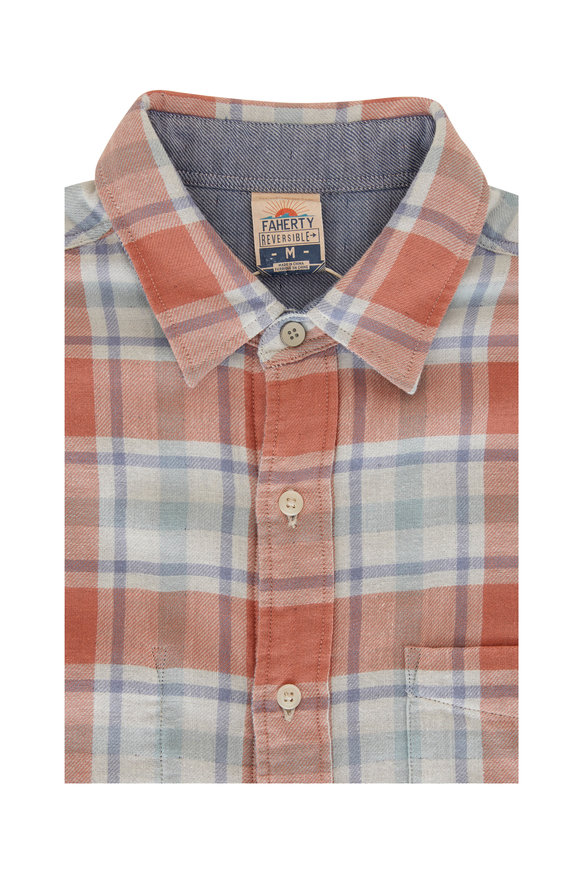 Faherty Brand Belmar Foliage Plaid Reversible Long Sleeve Shirt