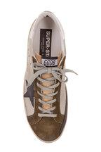 Golden Goose - Men's Superstar Silver Mesh & Green Suede Sneaker