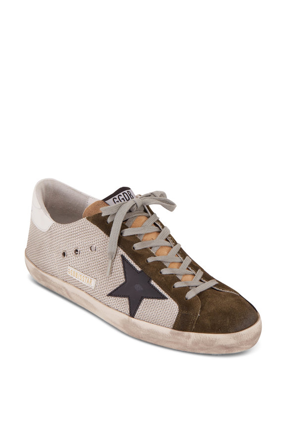 Golden Goose Men's Superstar Silver Mesh & Green Suede Sneaker