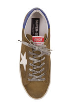 Golden Goose - Men's Superstar Olive Suede & White Star Sneaker