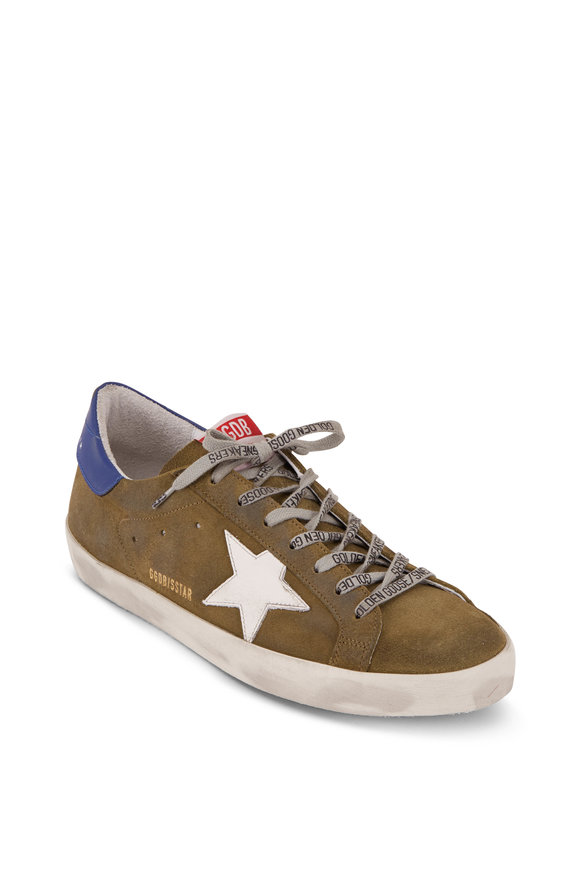 Golden Goose Men's Superstar Olive Suede & White Star Sneaker