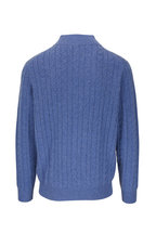 Peter Millar - Blue Cable Knit Quarter-Zip Pullover