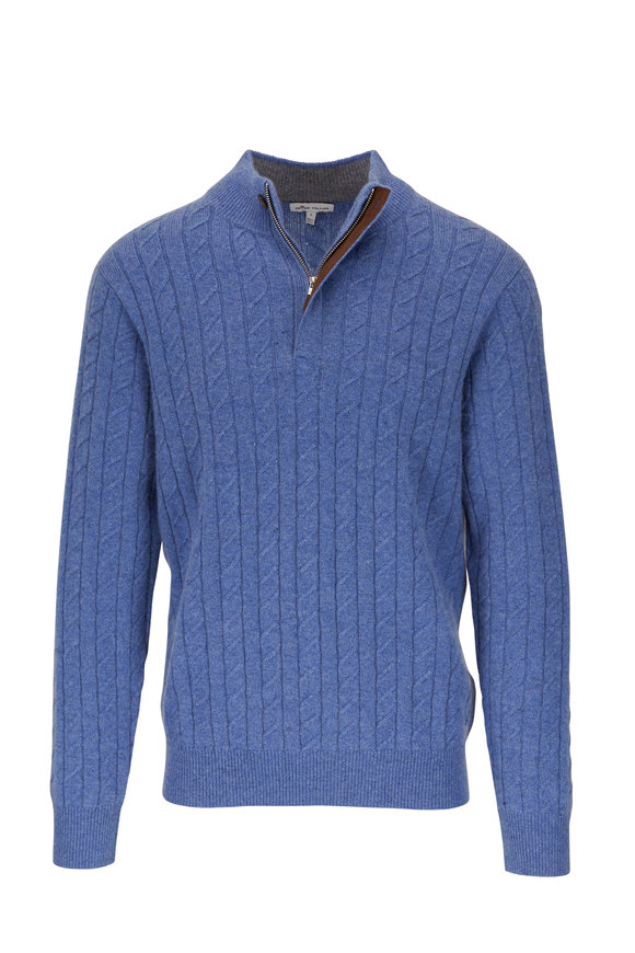 Peter Millar Blue Cable Knit Quarter-Zip Pullover