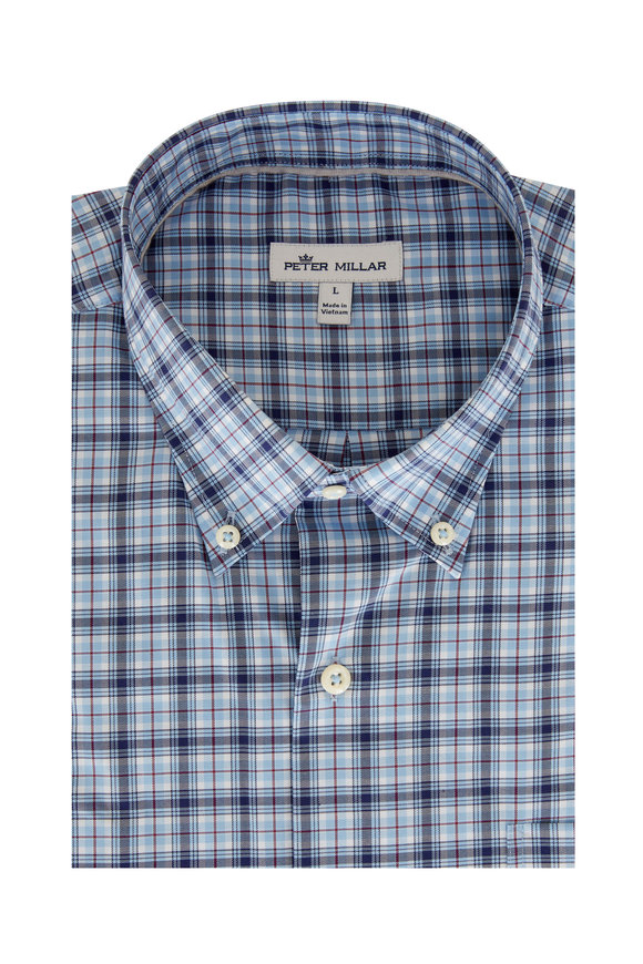 Peter Millar Douglas Blue Plaid Sport Shirt