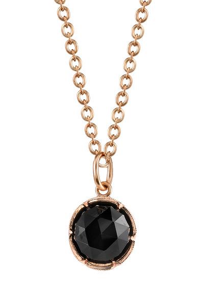Irene Neuwirth - Rose Gold Black Onyx Oval Link Pendant Necklace
