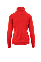Kinross - Valencia Red Cashmere Chunky Trim Turtleneck
