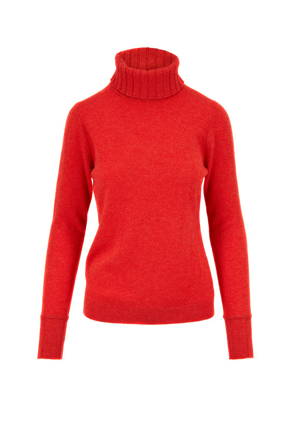 Kinross Valencia Red Cashmere Chunky Trim Turtleneck