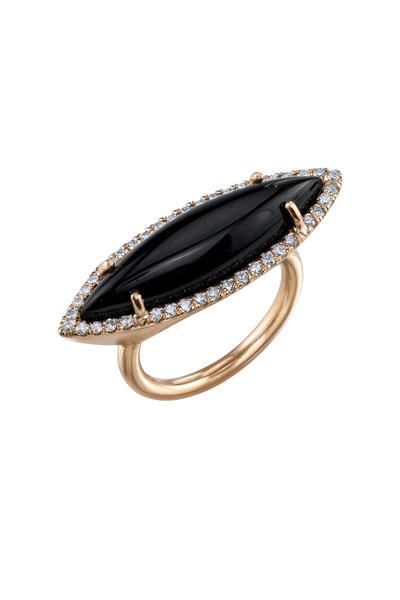 Irene Neuwirth - Rose Gold Black Onyx Diamond Cocktail Ring