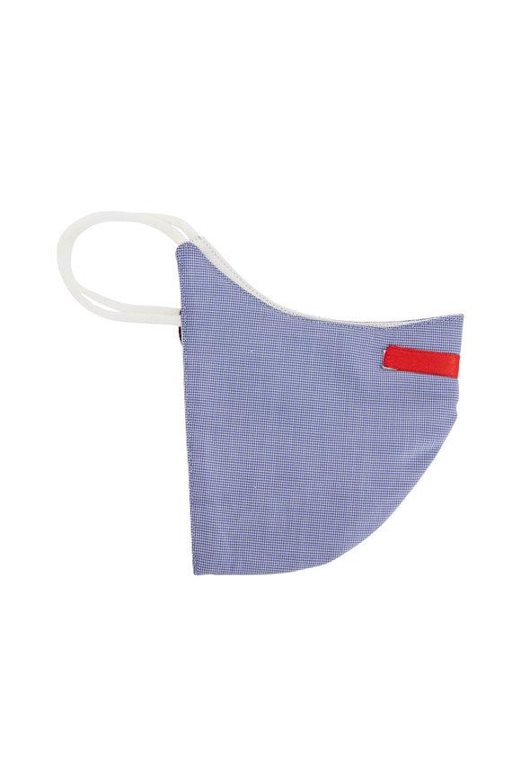 Isaia Medium Blue Micro Check Mask