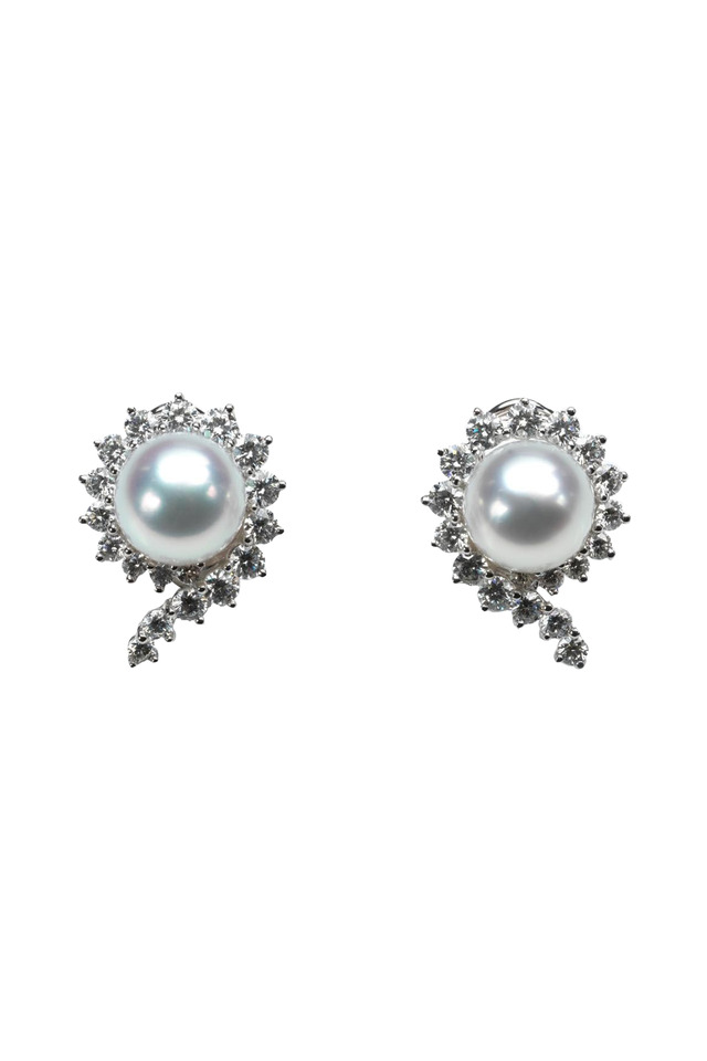 South Sea Pearl Button White Gold Diamond Earrings