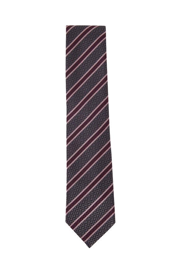 Ermenegildo Zegna Navy & Pink Diagonal Stripe Silk Necktie