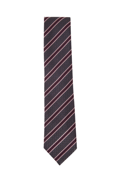 Ermenegildo Zegna - Navy & Pink Diagonal Stripe Silk Necktie