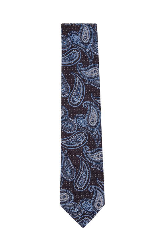 Ermenegildo Zegna Blue Paisly Silk Necktie