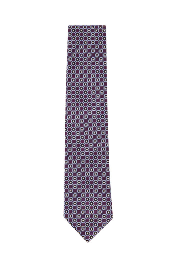Ermenegildo Zegna Purple & Blue Medallion Silk Tie