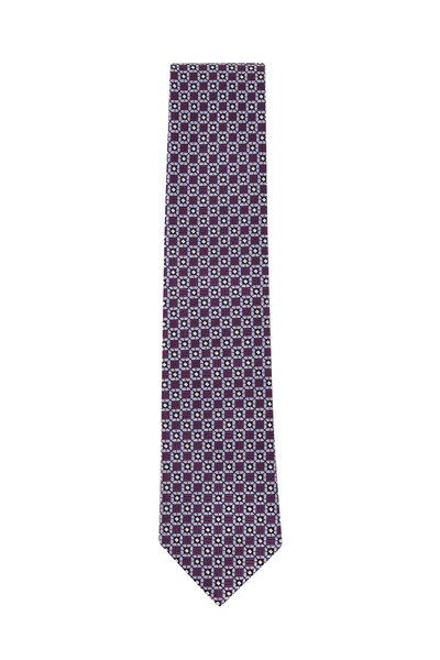 Ermenegildo Zegna - Purple & Blue Medallion Silk Tie