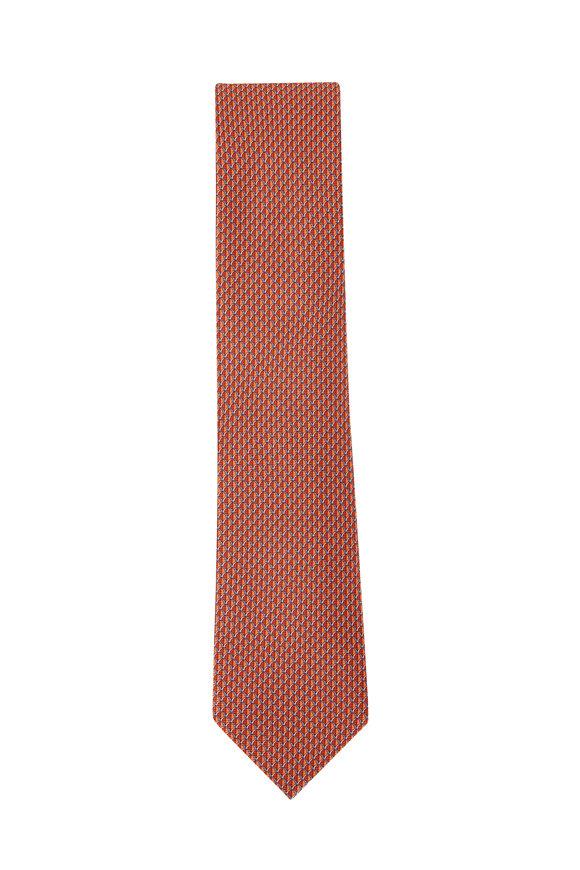 Ermenegildo Zegna Orange & Blue Geometric Silk Necktie