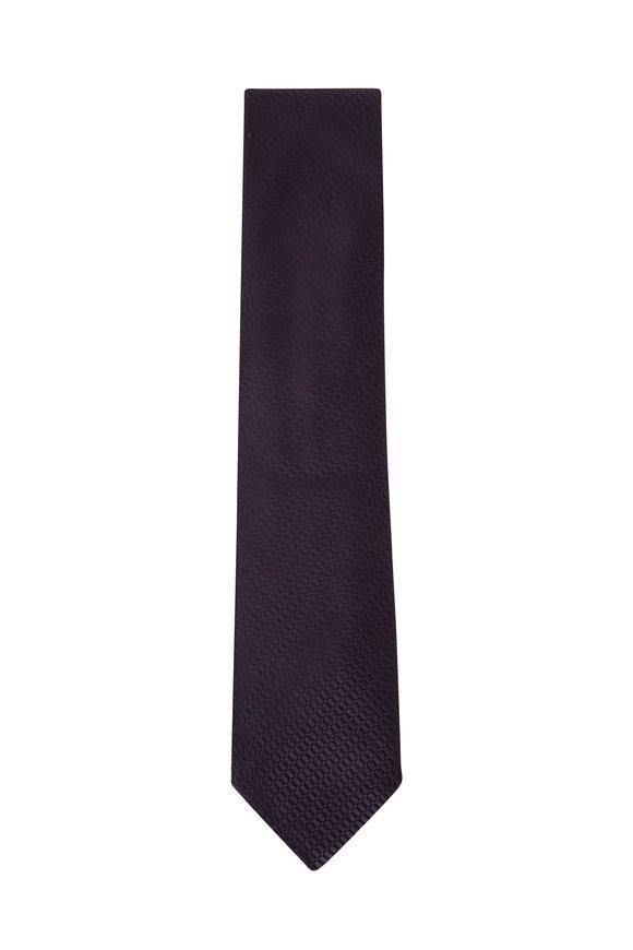 Ermenegildo Zegna Dark Blue Tonal Design Silk Necktie