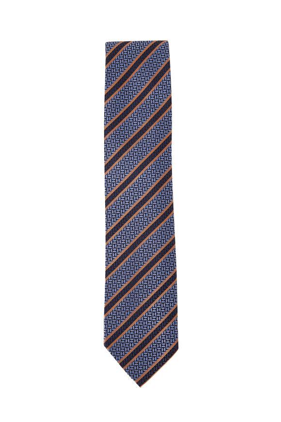 Ermenegildo Zegna Blue Geometric Design Silk Necktie