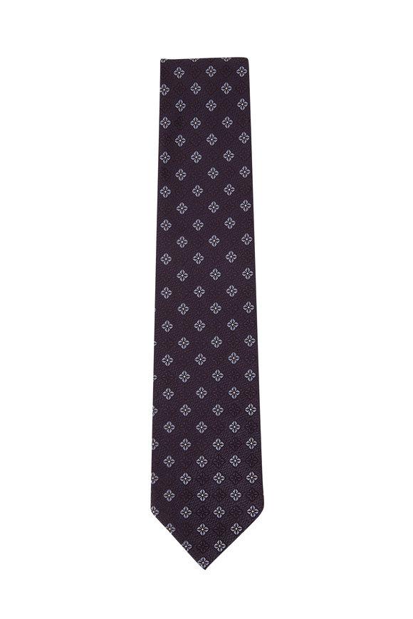 Ermenegildo Zegna Blue Medallion Silk Necktie