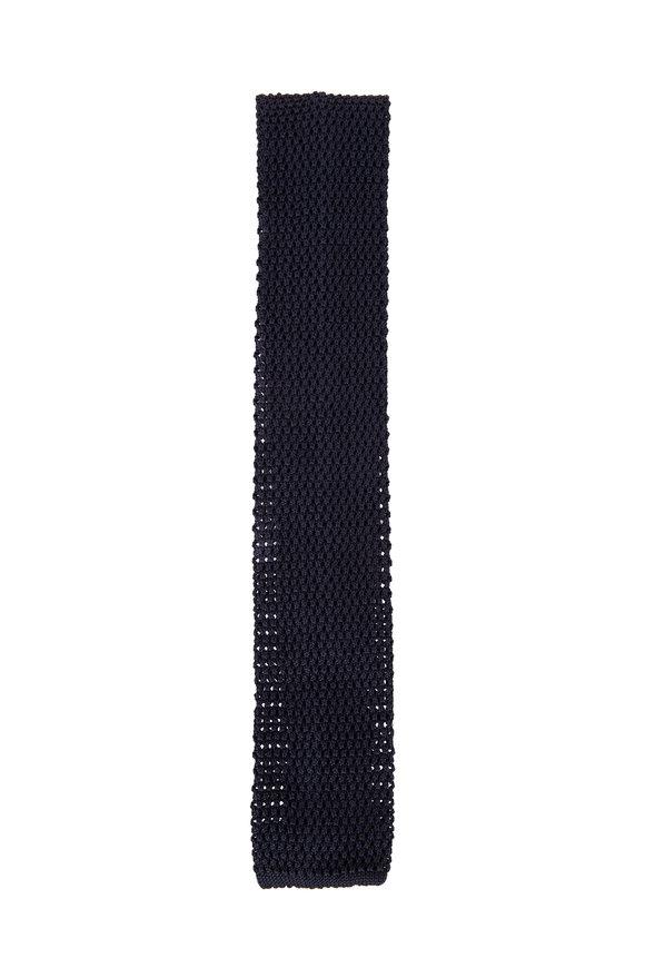 Ermenegildo Zegna Navy Knit Silk Tie