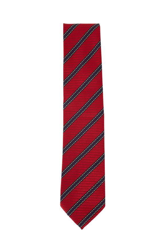 Ermenegildo Zegna Red & Blue Diagonal Stripe Silk Necktie