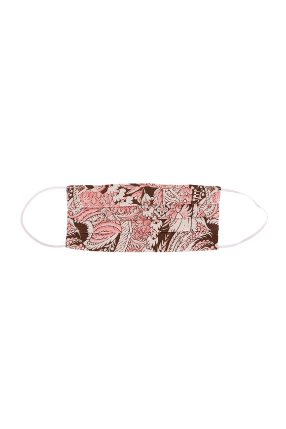 Made by Hand Pink & Brown Floral Print Mask