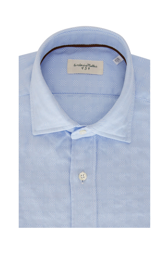Tintoria Light Blue Geometric Jacquard Sport Shirt