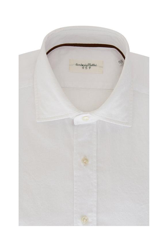 Tintoria Solid White Jacquard Sport Shirt