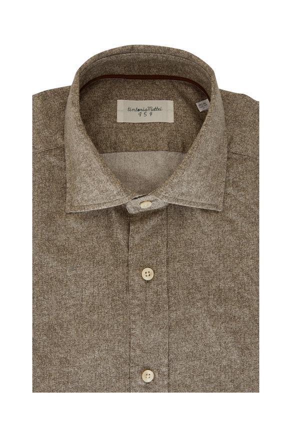 Tintoria Gray Herringbone Sport Shirt