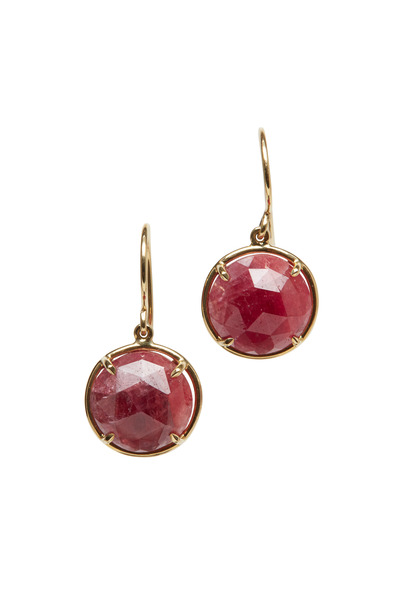 Emily & Ashley - Yellow Gold Small Ruby Drop Earrings