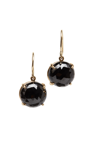 Emily & Ashley - Yellow Gold Black Spinal Drop Earrings
