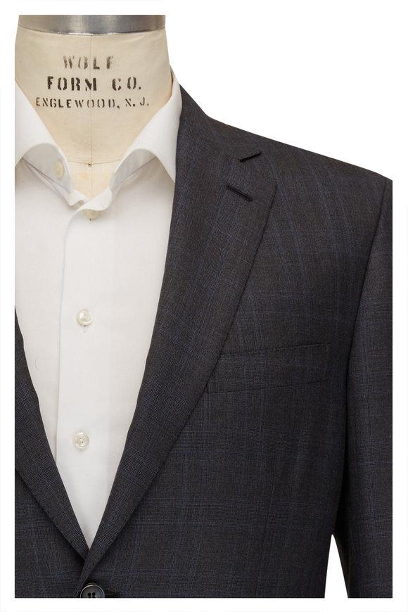 Brioni Gray & Blue Plaid 160s Wool Suit