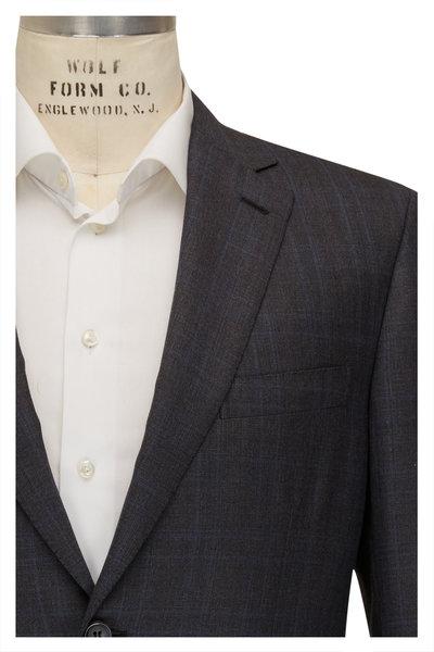 Brioni - Gray & Blue Plaid 160s Wool Suit