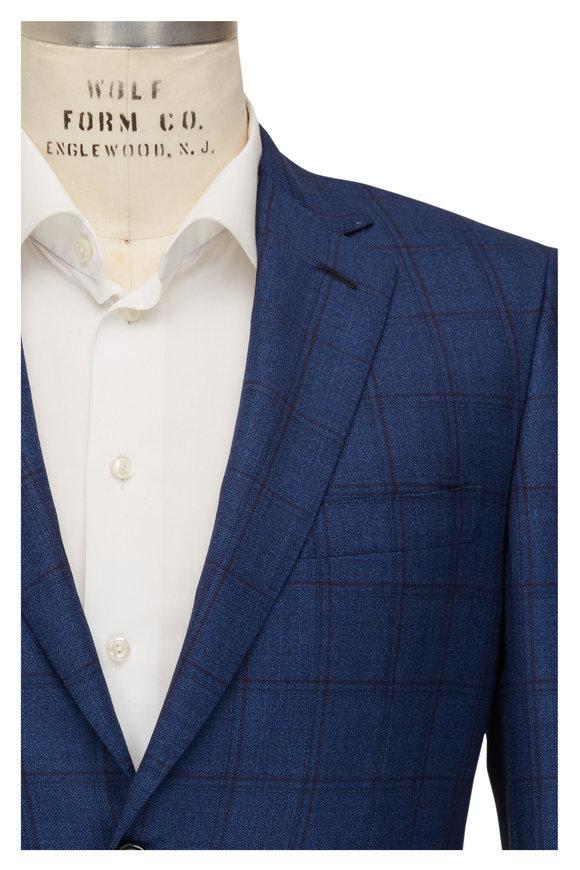 Brioni Blue & Wine Windowpane Wool Sportcoat
