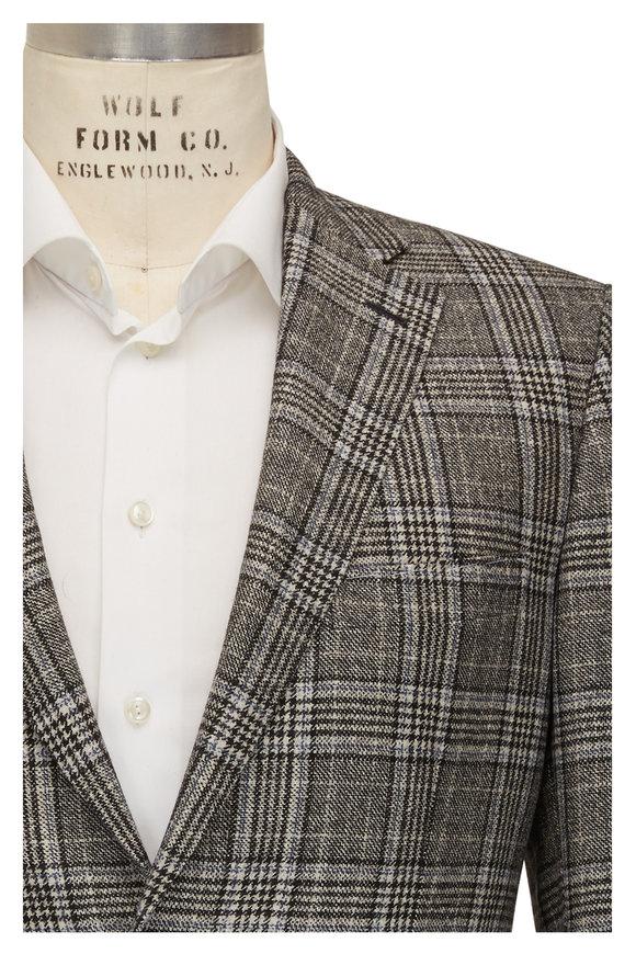 Brioni Black & White Glen Plaid Sportcoat