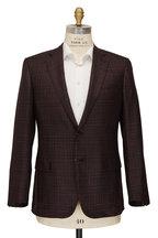 Brioni - Burgundy Plaid Silk & Cashmere Sportcoat
