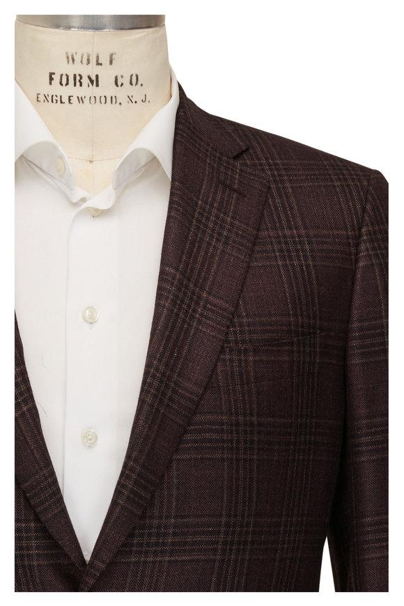 Brioni Burgundy Plaid Silk & Cashmere Sportcoat