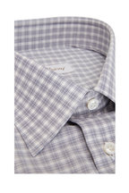 Brioni - White Micro Plaid Regular Fit Dress Shirt