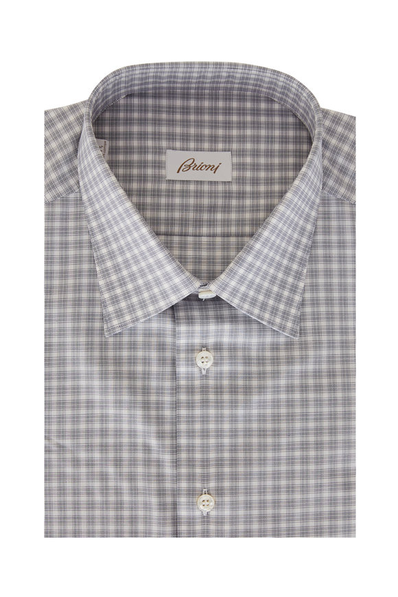 Brioni White Micro Plaid Regular Fit Dress Shirt