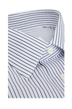 Brioni - Navy Blue Striped Regular Fit Dress Shirt