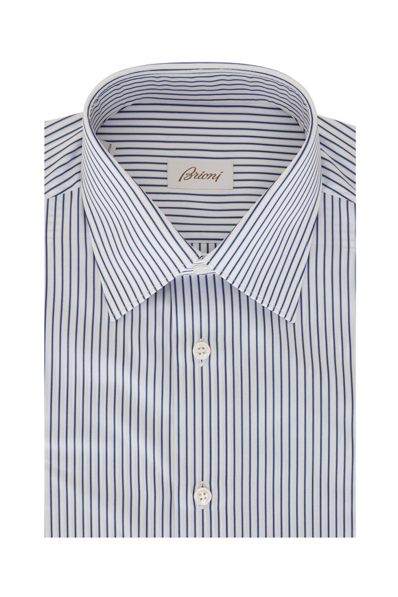 Brioni Navy Blue Striped Regular Fit Dress Shirt