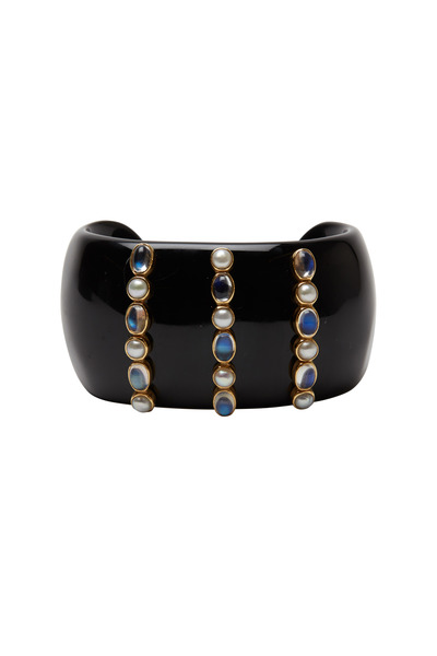 Emily & Ashley - Yellow Gold Pearl & Moonstone Onyx Cuff Bracelet