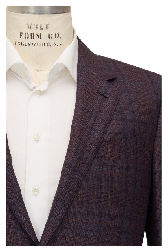 Ermenegildo Zegna Burgundy Windowpane Wool Sportcoat