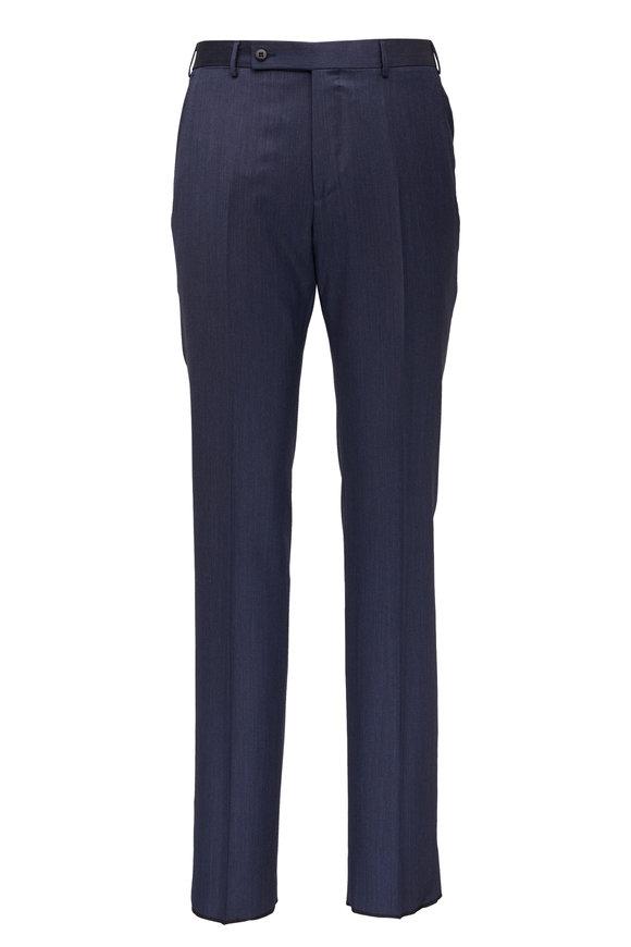 Ermenegildo Zegna Navy Blue Wool & Silk Pant
