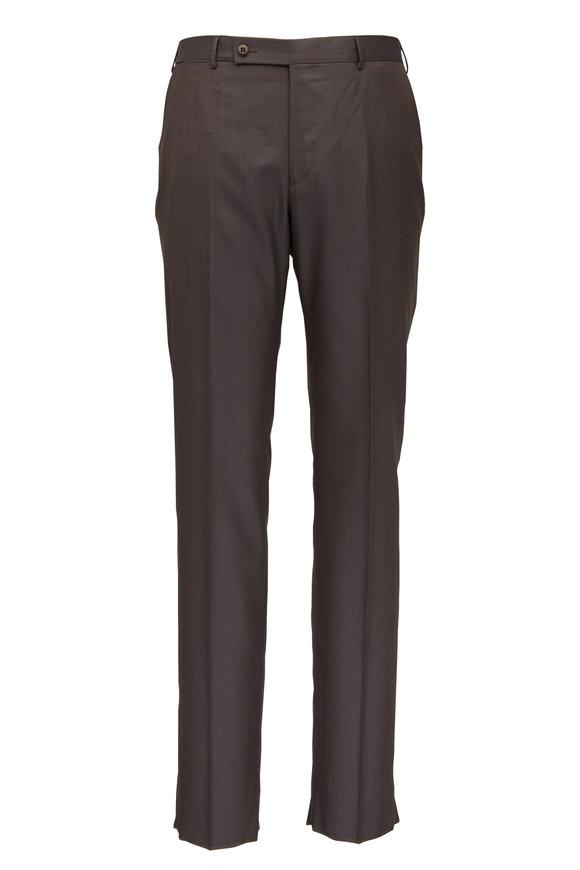 Ermenegildo Zegna Brown Wool & Silk Regular Fit Pant