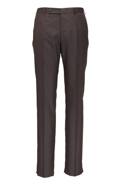 Ermenegildo Zegna - Brown Wool & Silk Regular Fit Pant