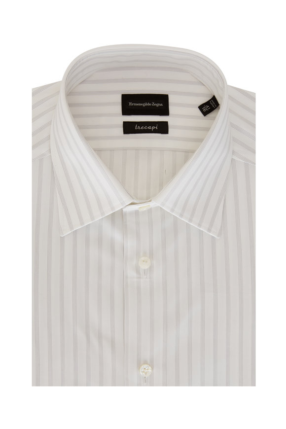 Ermenegildo Zegna Trecapi Light Gray Striped Sport Shirt